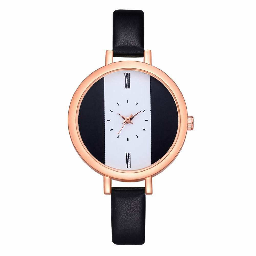 Fashion Fanteeda FD113 Women Unique Dial Leather Band Quartz Wrist Watch