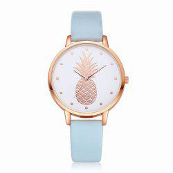 Fanteeda FD123 Women Pineapple Dial Leather Band Quartz Wrist Watch -