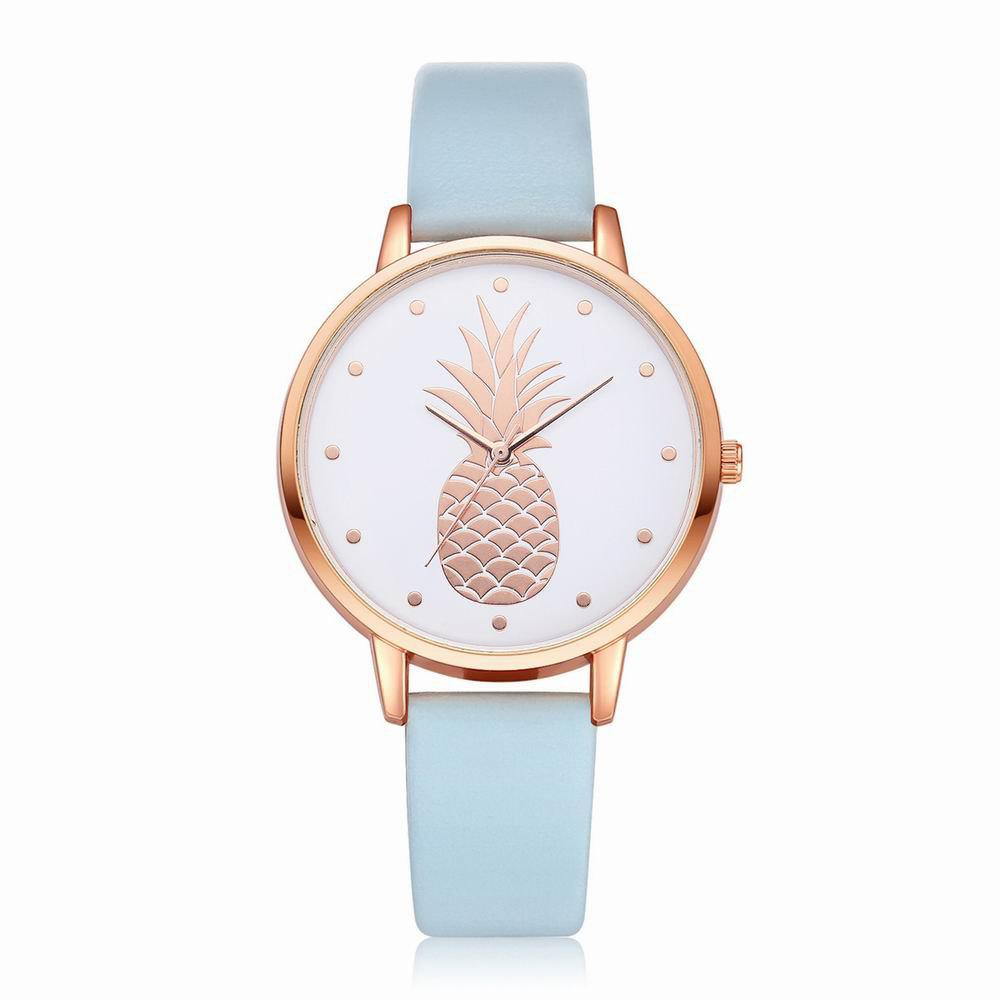 Trendy Fanteeda FD123 Women Pineapple Dial Leather Band Quartz Wrist Watch
