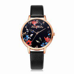 Fanteeda FD132 Women Fashion Leather Band Quartz Dress Watch -