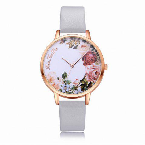 New Fanteeda FD136 Women Classic Flowers Dial Leather Band Quartz Wrist Watch