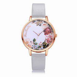 Fanteeda FD136 Women Classic Flowers Dial Leather Band Quartz Wrist Watch -