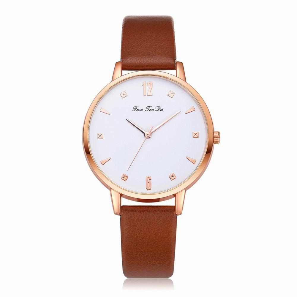 Best Fanteeda FD138 Women Classic Leather Band Quartz Wrist Watch
