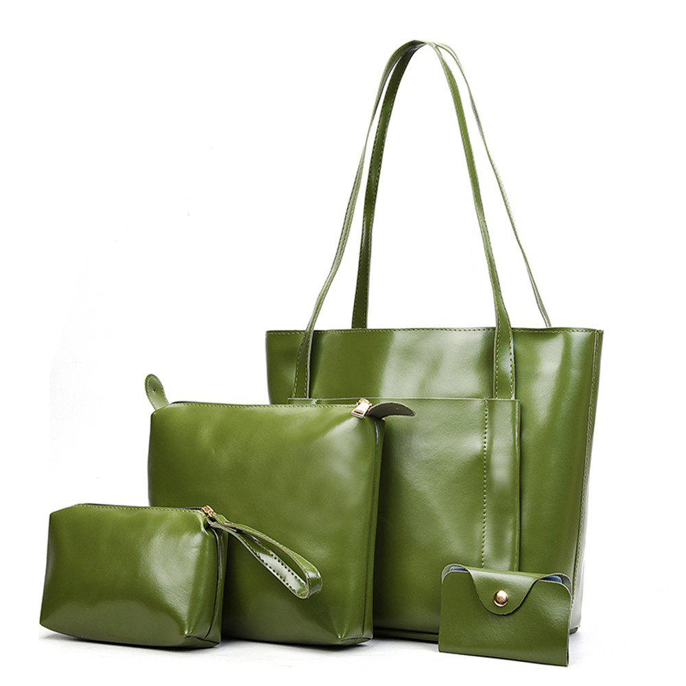 Hot Women s Four Pieces Hand Shoulder Soft Leather Large Capacity Tote Bag 4ad4a11c40