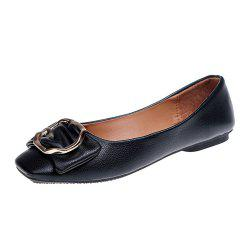 Flat Round Head Shallow Mouth Soft Leather Fashion Show Thin Women's Shoes -
