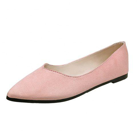 Flat Nose Comfortable Shallow Professional Work Suede  Women's Shoes - Pink - 41
