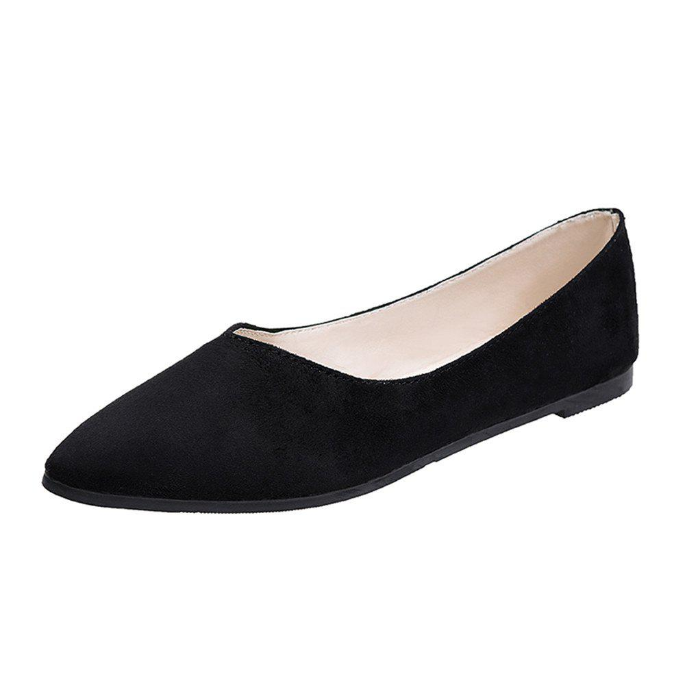 0fa76ee6267 Flat Nose Comfortable Shallow Professional Work Suede Women's Shoes