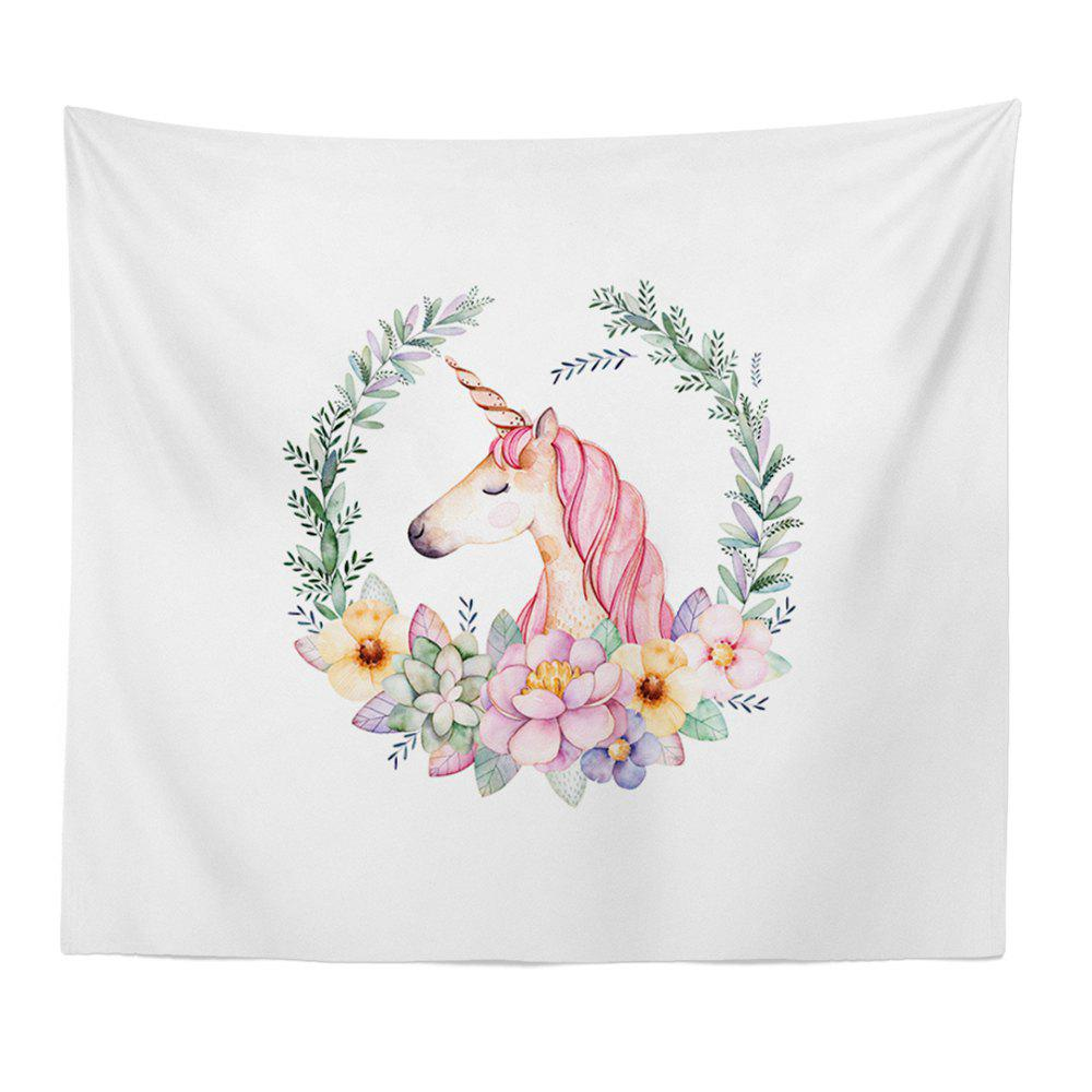 Trendy Hand-Painted High Definition Cartoon Unicorn Wall Tapestry Hanging Artist Living