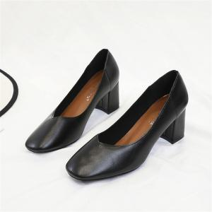 Shallow Breathable Round Head Thick Heel High Heel Female Shoes -