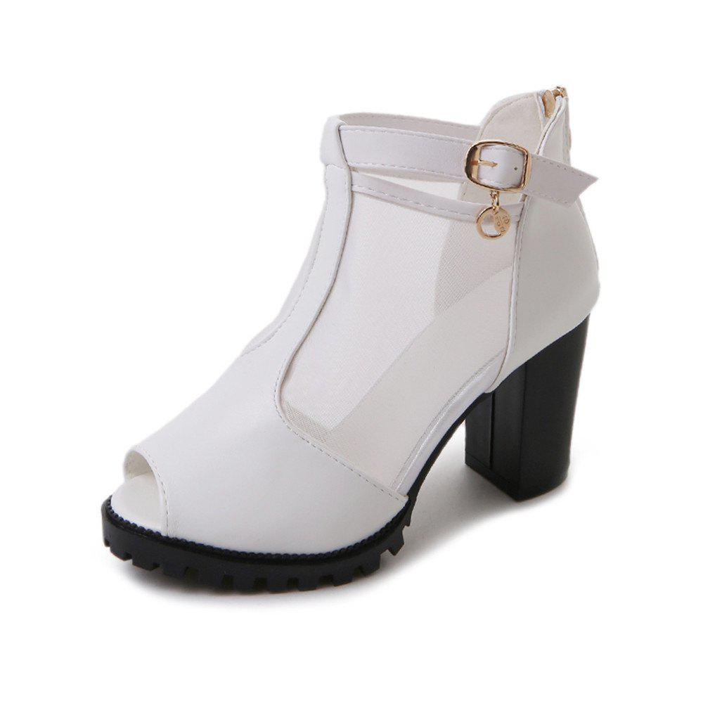 New Net Gauze Cold Boots Heel Buckle Thick Heel  Fish Mouth Women's Shoes