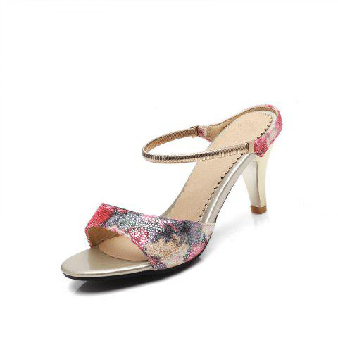 Cheap Fine Heel Slippers in Color Printing