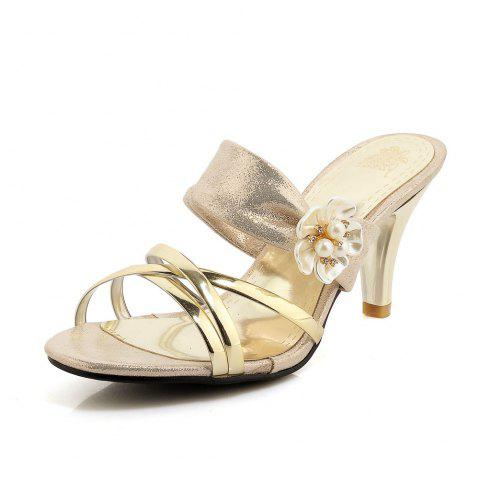 Online Beautiful Gold-Plated Middle Heel Slippers