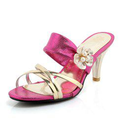 Beautiful Gold-Plated Middle Heel Slippers -