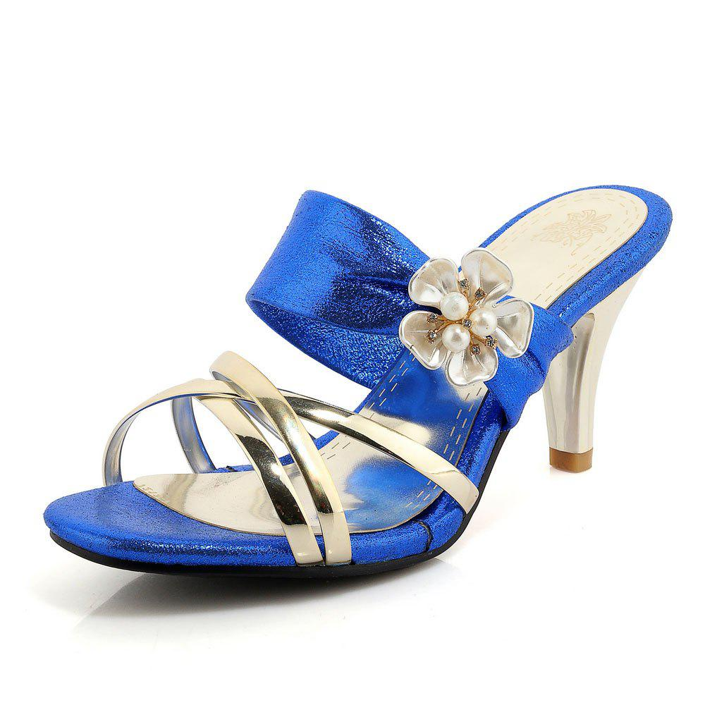New Beautiful Gold-Plated Middle Heel Slippers