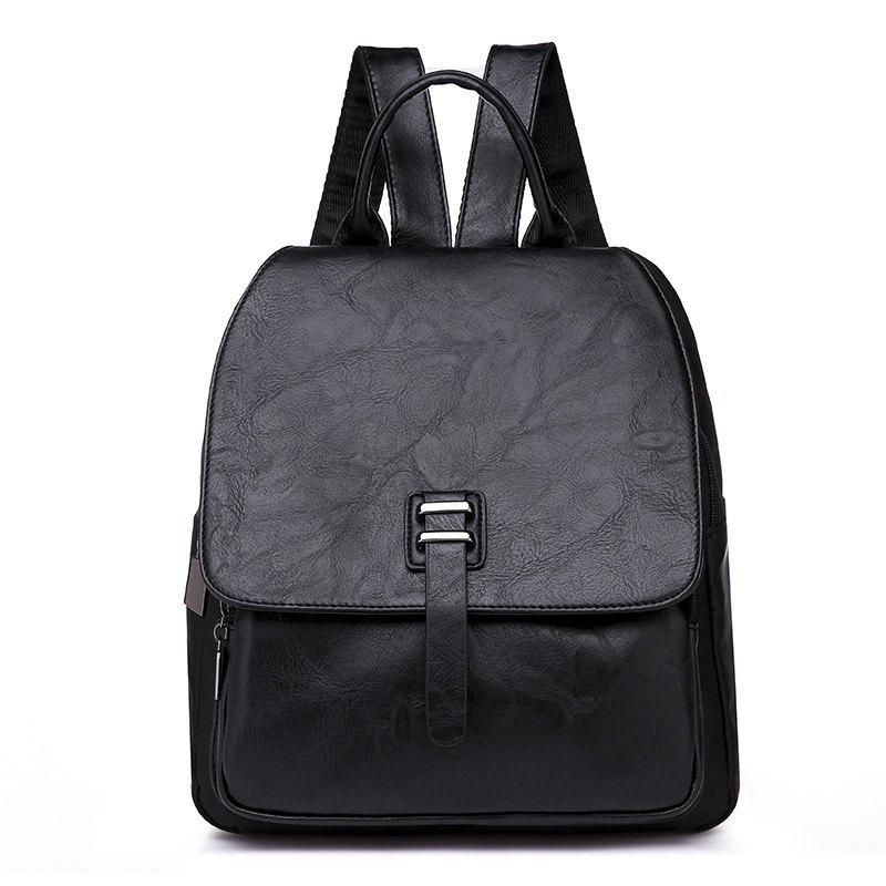 Store Large Capacity Bag Double Back All-match PU with Nylon Backpack
