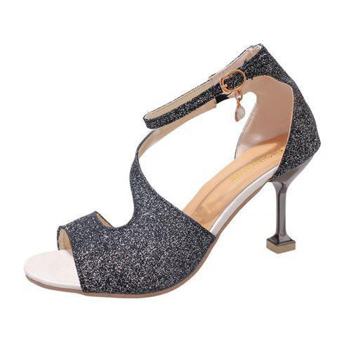 Online Women Fashion Frosted Pumps Shoes Ankle Strap Sandals