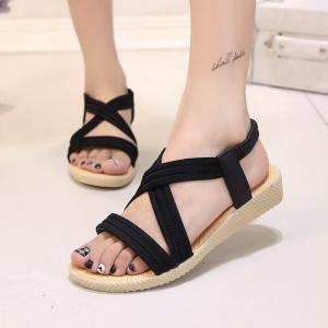 Women Summer Low-Heeled Elastic Straps Sandals Beach Flat Shoes -