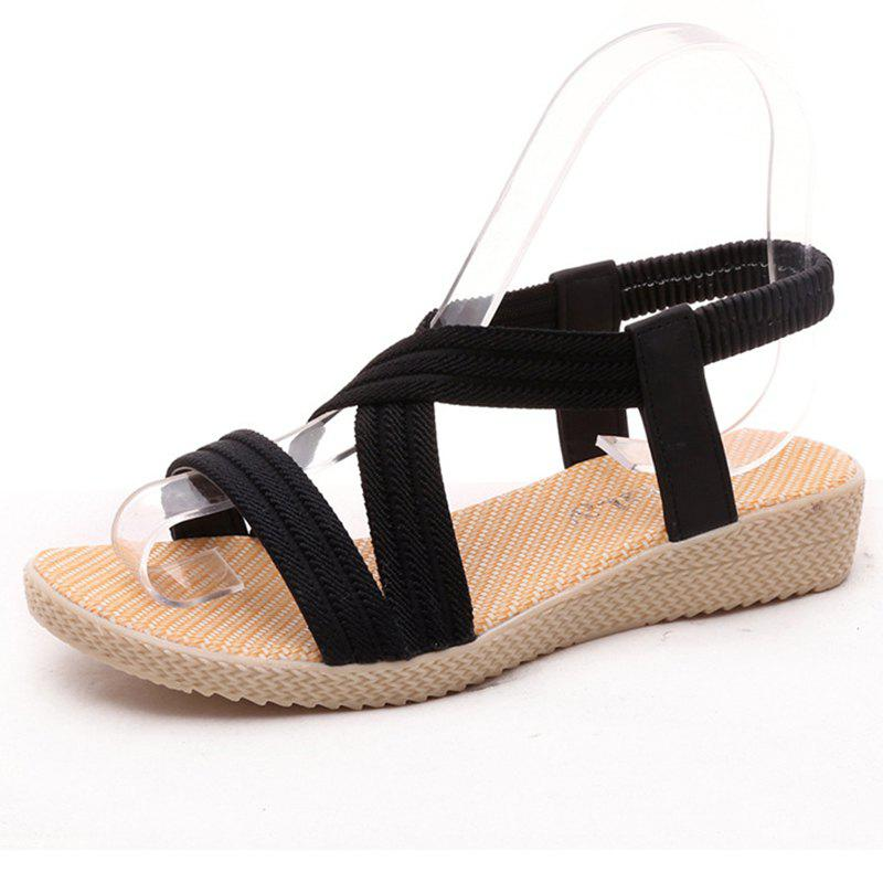Buy Women Summer Low-Heeled Elastic Straps Sandals Beach Flat Shoes