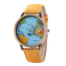 XR1105 Men Simple Vintage Jean Canvas with PU Band Map Watch -