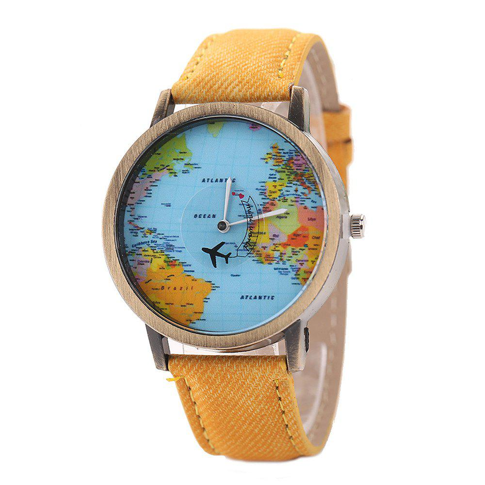 Online XR1105 Men Simple Vintage Jean Canvas with PU Band Map Watch