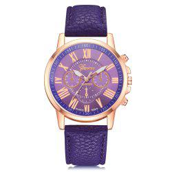 Geneva XR740 Women Simple Analog Quartz PU Leather Wrist Watch -