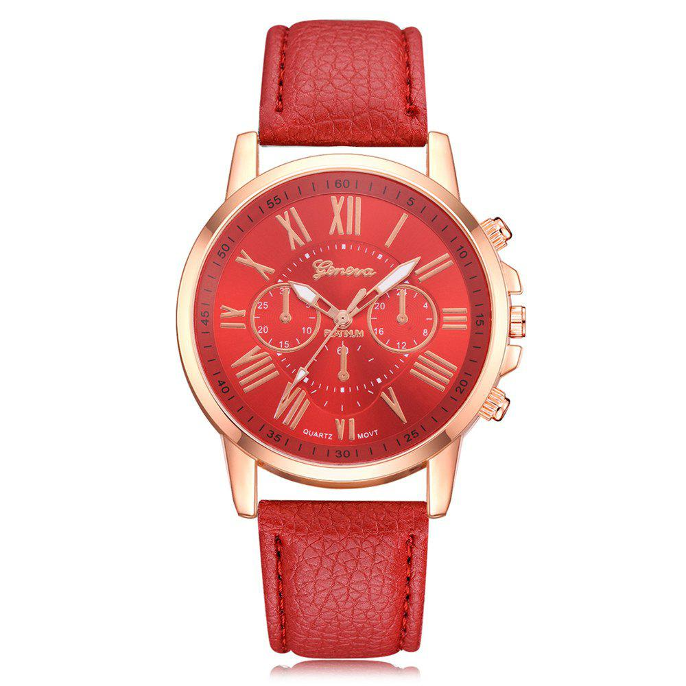 New Geneva XR740 Women Simple Analog Quartz PU Leather Wrist Watch