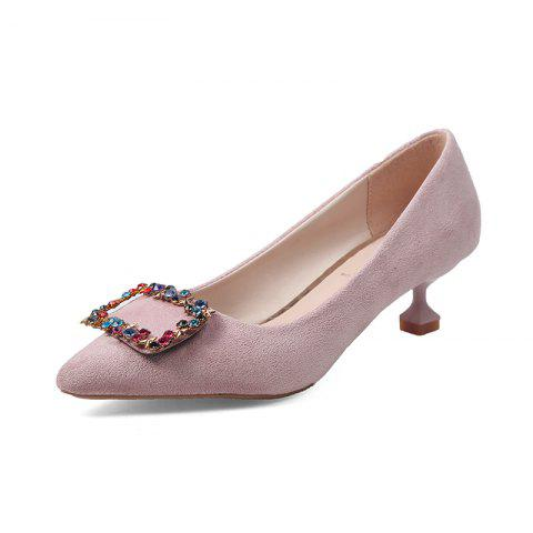 Trendy Spike Low Heelswater Drill Cat and Girl Shoes