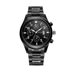 Oukeshi Men Fashion Stainless Steel Band Sports Watch with Calendar -