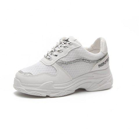 Lace Up Breathable Platform Sneakers - White - 39