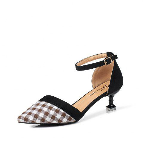 Trendy Summer New Button Pointed Casual Plaid Hollow Comfort Shoes
