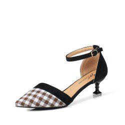 Summer New Button Pointed Casual Plaid Hollow Comfort Shoes -
