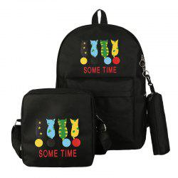 Cartoon Pattern Double Shoulder Bag Middle School Schoolbag -
