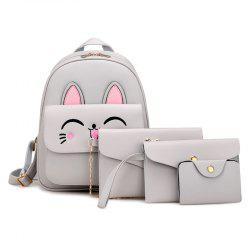 Cute Rabbit Pattern PU Backpack Bag Suit -