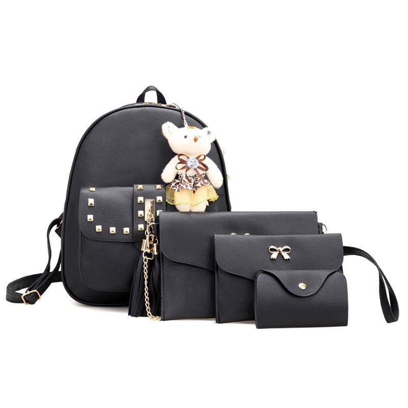 Trendy Rivet PU Backpack Travelling Bag