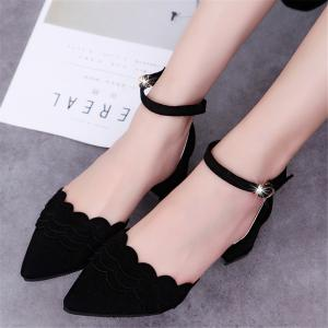Shallow Mouth  Word Buckle  Hollow Point Thick Heel Height  Female Shoe -