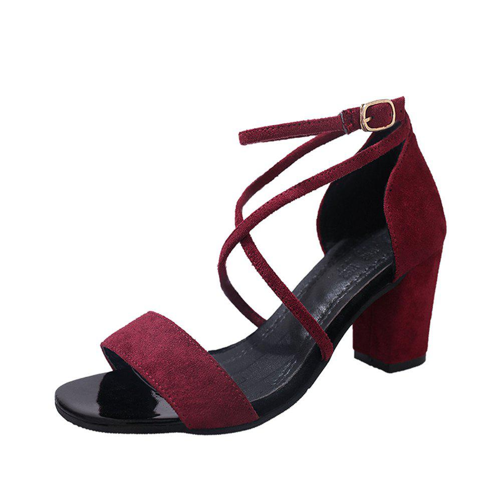 Unique Middle Sexy Comfortable Temperament Show Toe Thick Heel Female Shoes