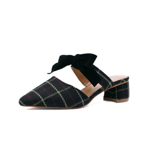 Pointy Bowknot  Coarsely  Shoes - Black - 37