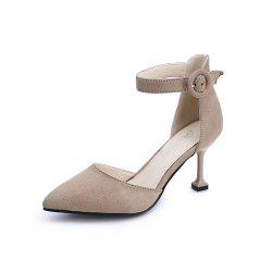 Pointed Suede and High Heeled Word Buckle Women's Shoes -