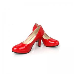 Professional Round Head Single Patent Leather Shallow Simple Women's Shoes -