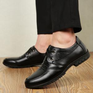 Male Cowhide Comfort Lace Up Soft Driving Leather Men's Causal Shoes -