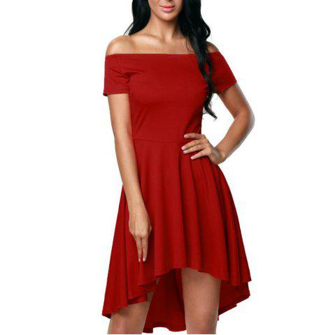 Fashion Solid Color A-line Collar Short Sleeve Dress