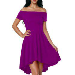 Solid Color A-line Collar Short Sleeve Dress -