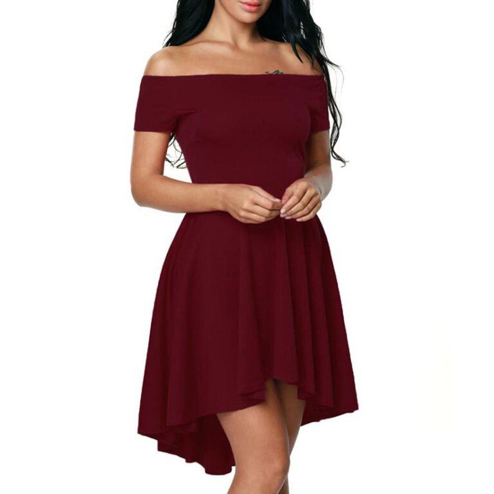 Outfits Solid Color A-line Collar Short Sleeve Dress