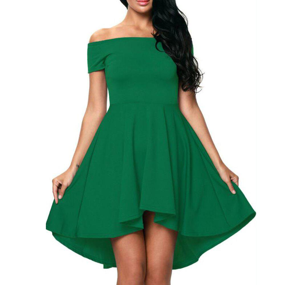 Online Solid Color A-line Collar Short Sleeve Dress