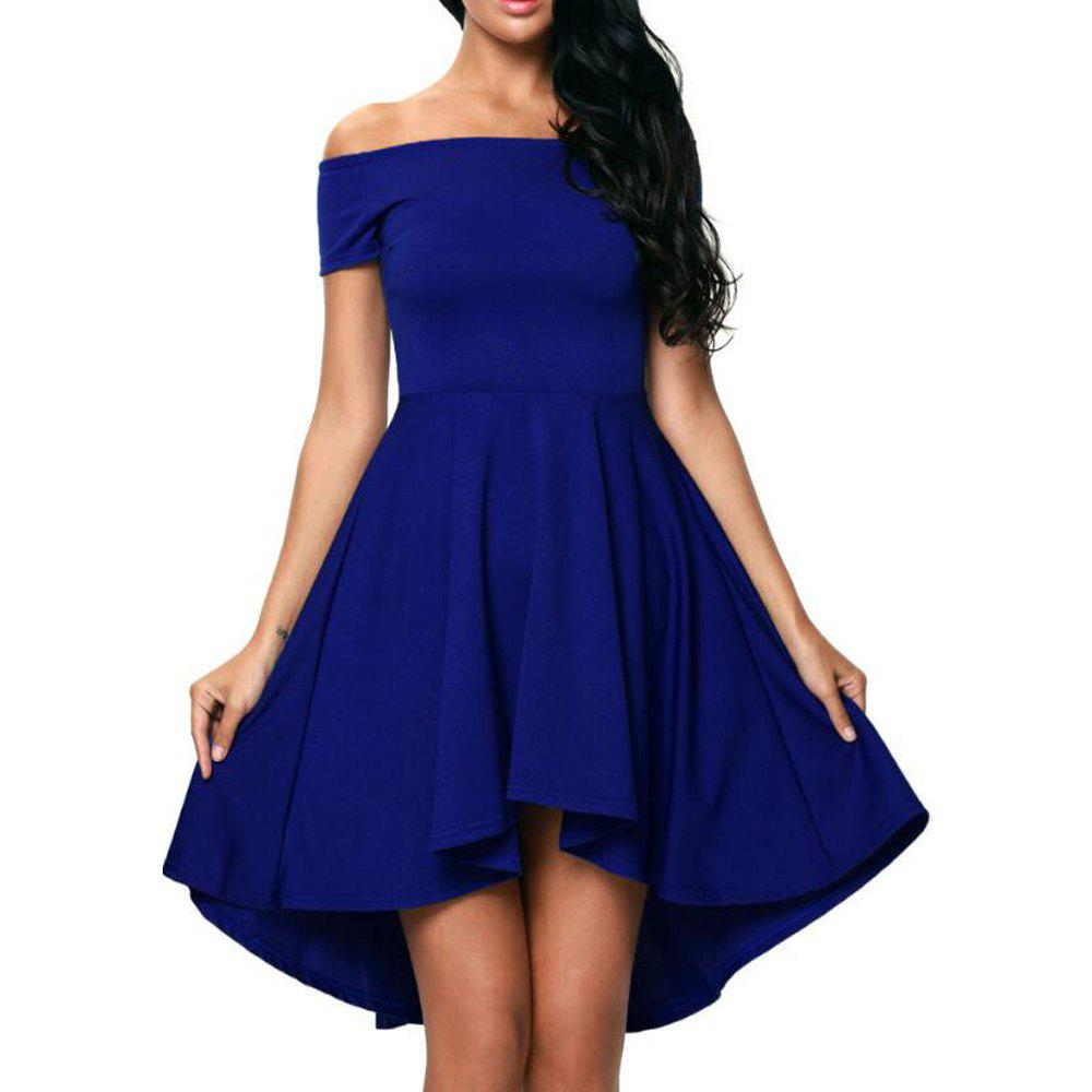 Trendy Solid Color A-line Collar Short Sleeve Dress