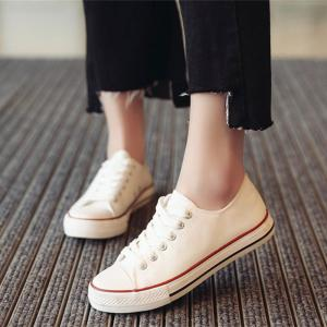 New Spring All-Match Lace Student Flat Canvas Shoes -