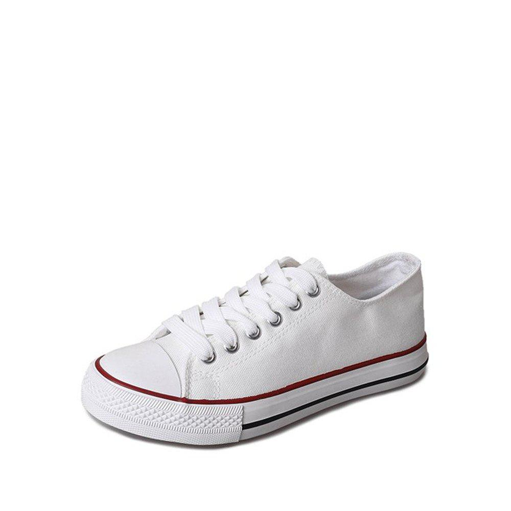 Online New Spring All-Match Lace Student Flat Canvas Shoes