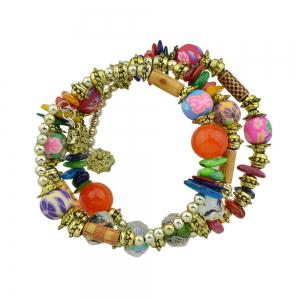 Antique Gold Color with Wood Colorful Beads Bracelet -