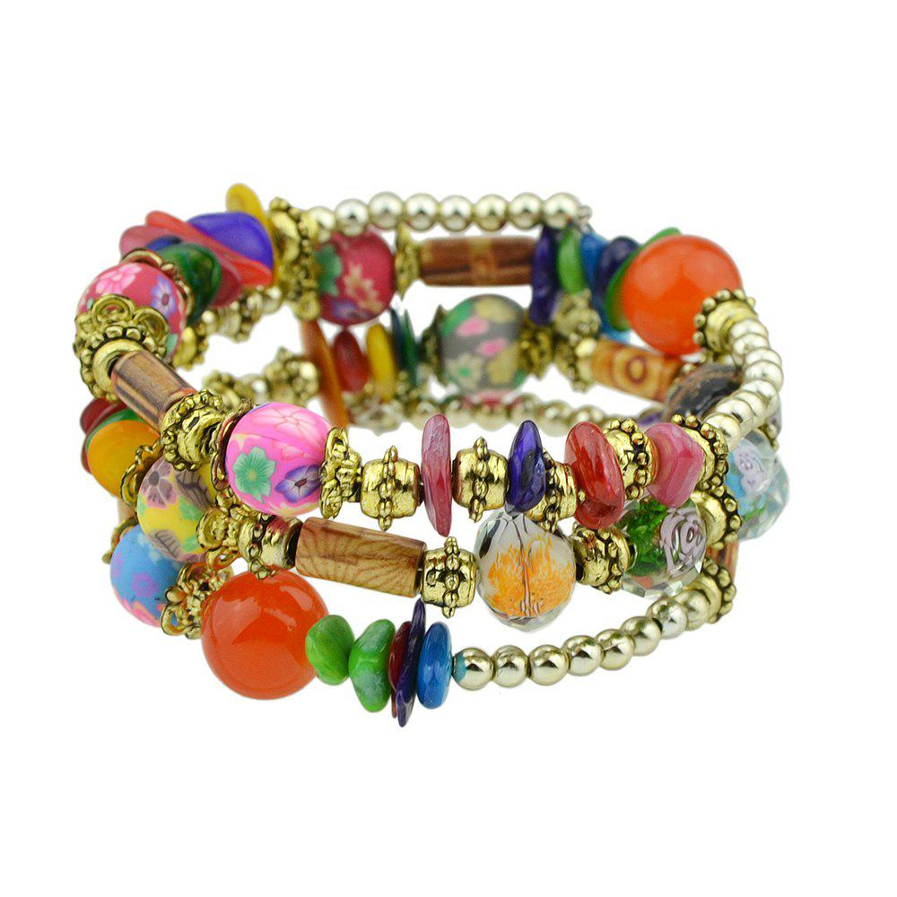 Outfits Antique Gold Color with Wood Colorful Beads Bracelet