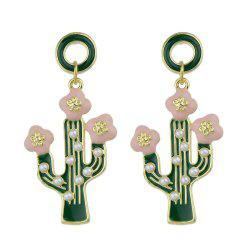 Green Cactus Pink Flower With Simulated-pearl Drop Earrings -